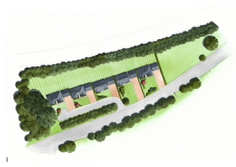 This next artist impression shows a short drive with bushes obscuring some homes from the road.