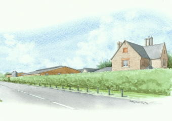 Artist impression of a view from the roadside of the new development, with just small hedges and bushes.