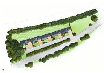 But this artist impression shows a long drive with bushes obscuring most homes from the road.