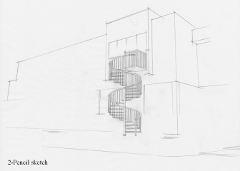 Pencil sketch of the staircase to be used.