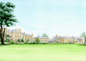 Front view emphasising the beautiful setting for this large group of buildings.