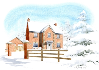 A winter's view of the approach to and front of a house at a proposed redevelopement