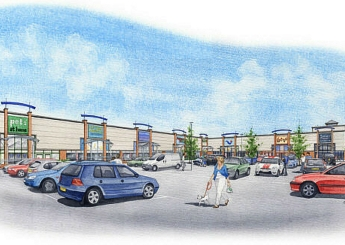Artist impression of a new shopping centre, front view.