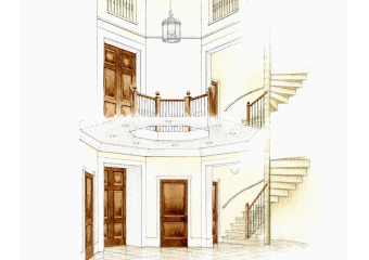 Artist impression of the interior renovation of a beautiful older building.