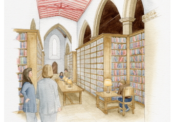 Artist impression of the interior view of a refurbished library for the client.