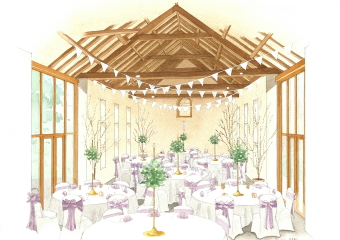 Artist impression of the restaurant area of a proposed barn converion.