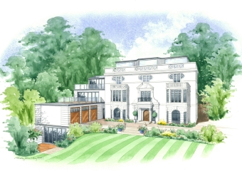Artist impression of a beautiful house and extensions.