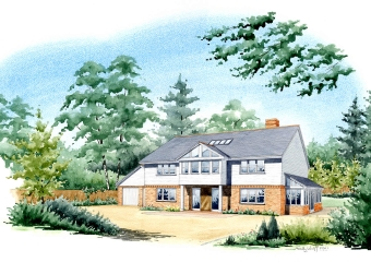 Artist impression of a house with extensions added, set in its own grounds.