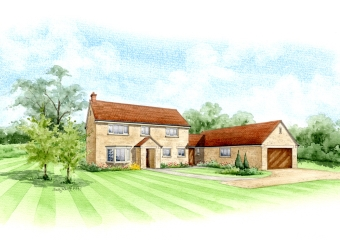 Artist impression of a new build with garage in its own grounds.