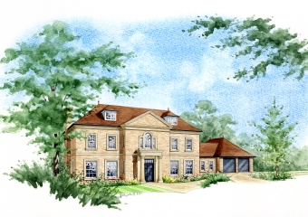 Artist impression of a large property with new extensions added to it.