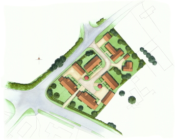 A new developement's site plan, with some semi-detached and detached properites.