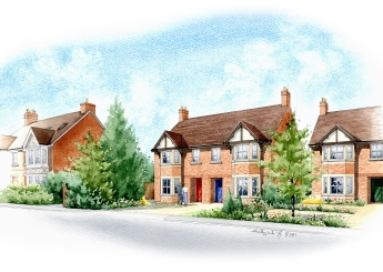 Artist impression of a street scene for a new development.