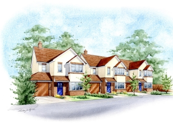 Artist impression of residential area's street view for client.